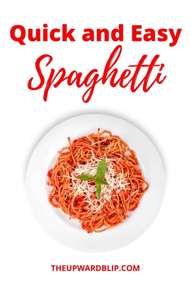 quick and easy spaghetti recipe pin image