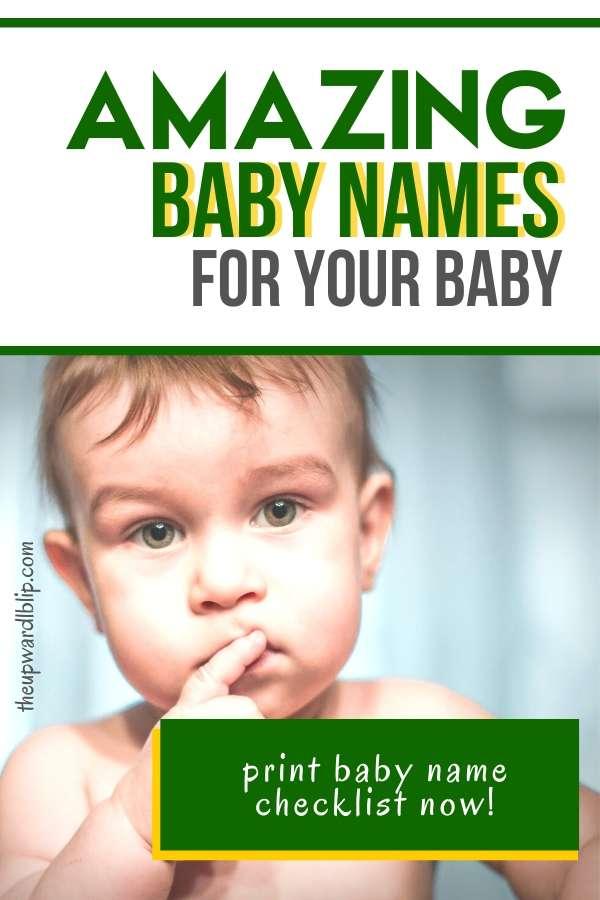 beautiful and amazing baby names pin image