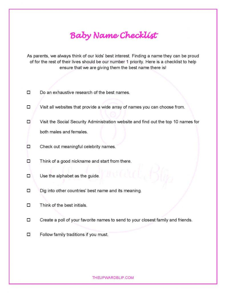 Baby Name Checklist Freebie | The Upward Blip
