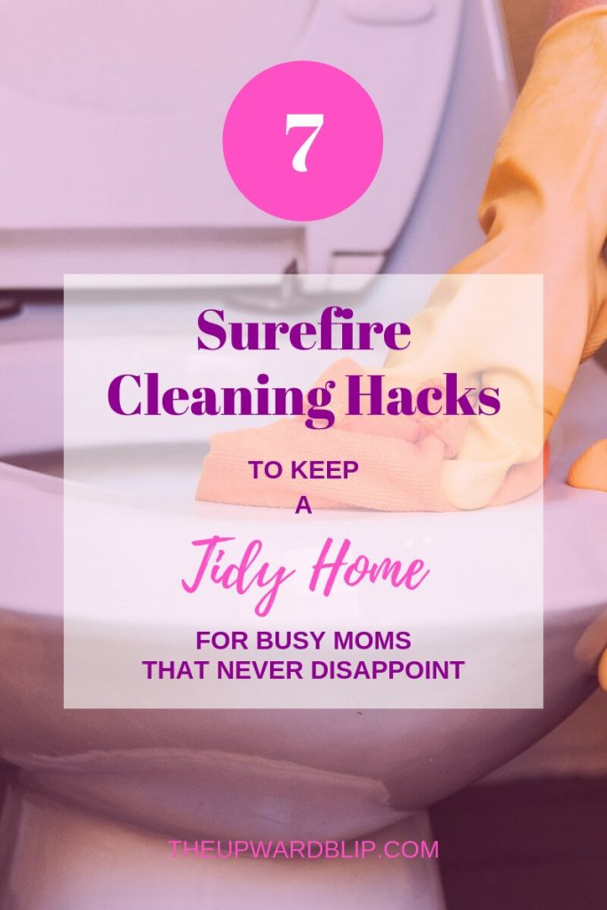 cleaning hacks for busy moms pin image