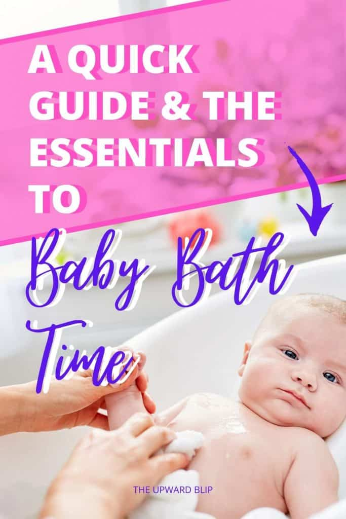 baby bath time guide and essentials pin image