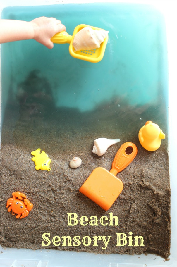 indoor activities for toddlers - beach sensory bin from Practical Frugality