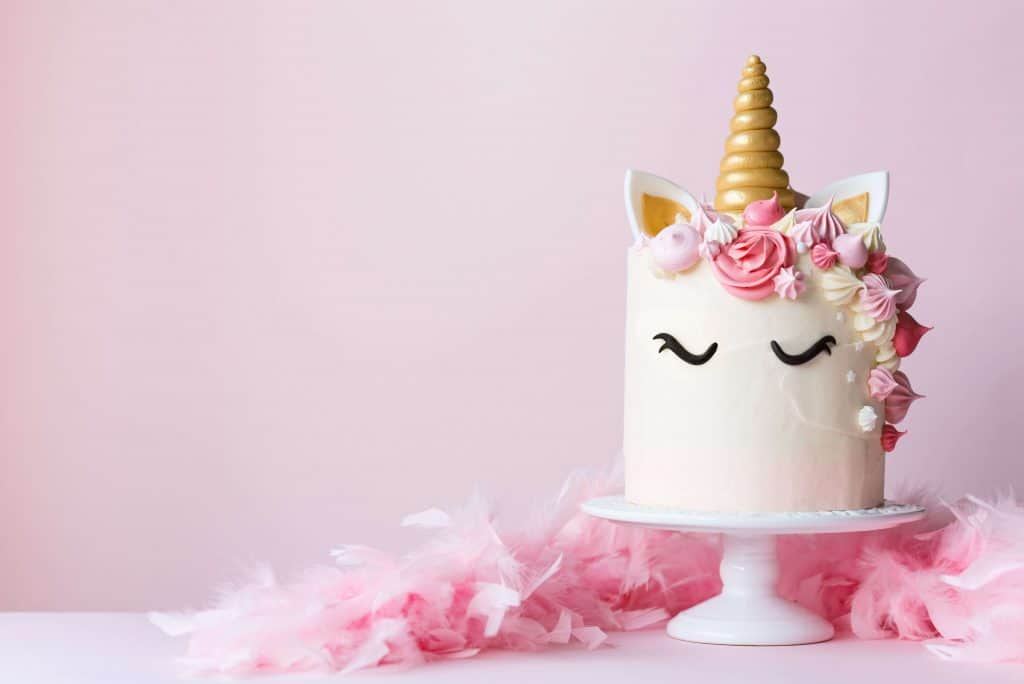 unicorn birthday cake for a first birthday party