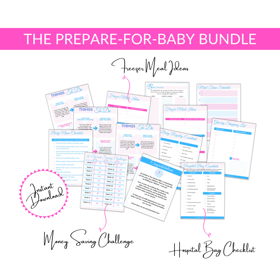 prepare for baby bundle mockup of lists and planners