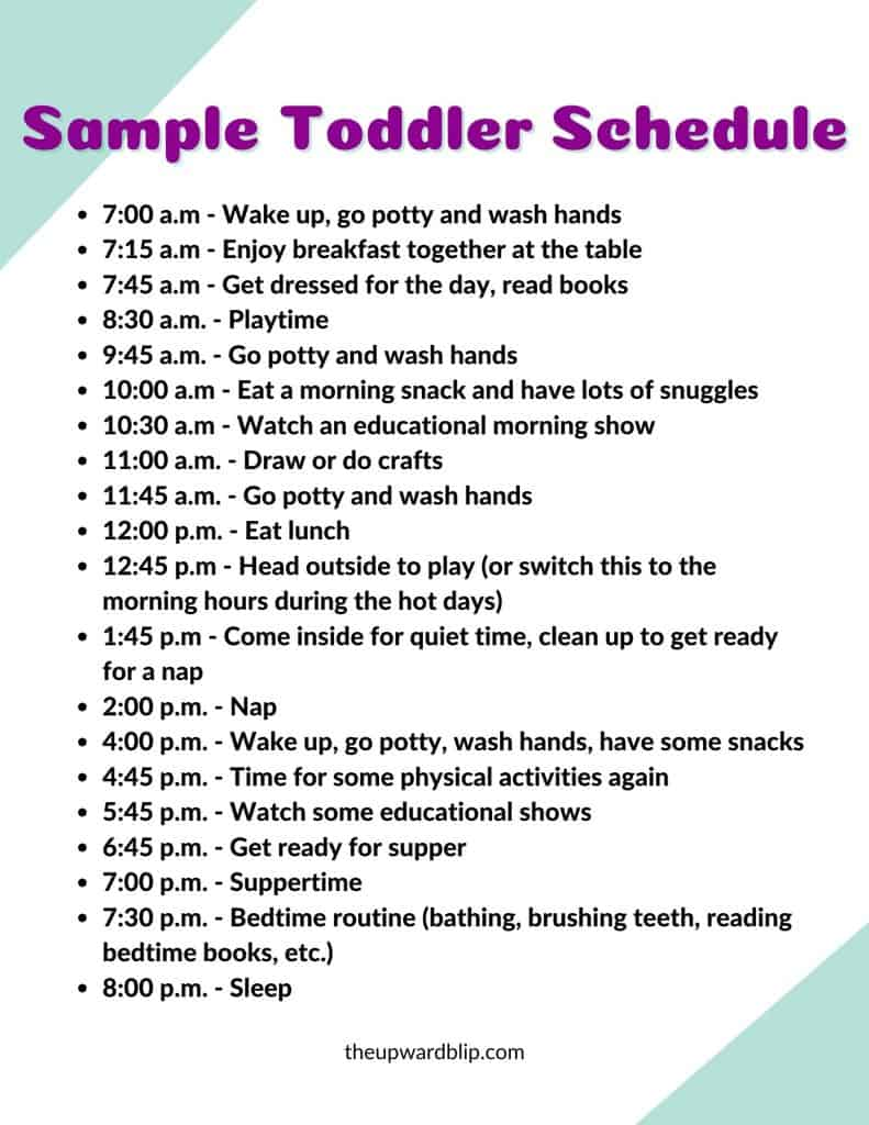 sample toddler schedule for stay-at-home moms